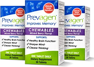Prevagen Improves Memory - Regular Strength 10mg, 30 Chewables  Mixed Berry-3 Pack  with Apoaequorin & Vitamin D   Brain S...