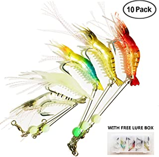 Heylure Artificial Silicone Soft Bait Set, Luminous Shrimp Fishing Lure with Hook Fishing Tackle, Freshwater Saltwater Night Fishing for Bass Trout Catfish Salmon(8.5cm/6g) with Lure Box