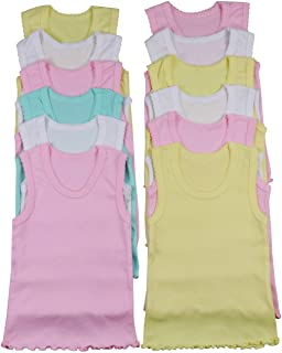 ToBeInStyle Girl's 4 Pack Ruffle Hem Cotton Tank Tops