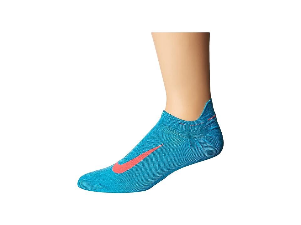 Nike Elite Running Lightweight No Show (Light Blue Fury/Hot Punch) No Show Socks Shoes
