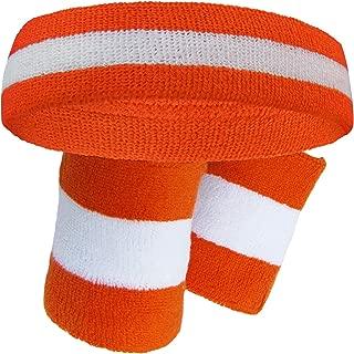 Premium Quality Semi-pro Jackie Moon Dark Orange Striped Sweat Headband Wristband Set