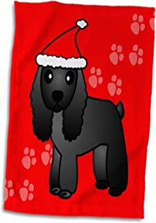 """3D Rose Cute Black Cocker Spaniel Red Paw Background with Santa Hat TWL_15353_1 Towel, 15"""" x 22"""""""