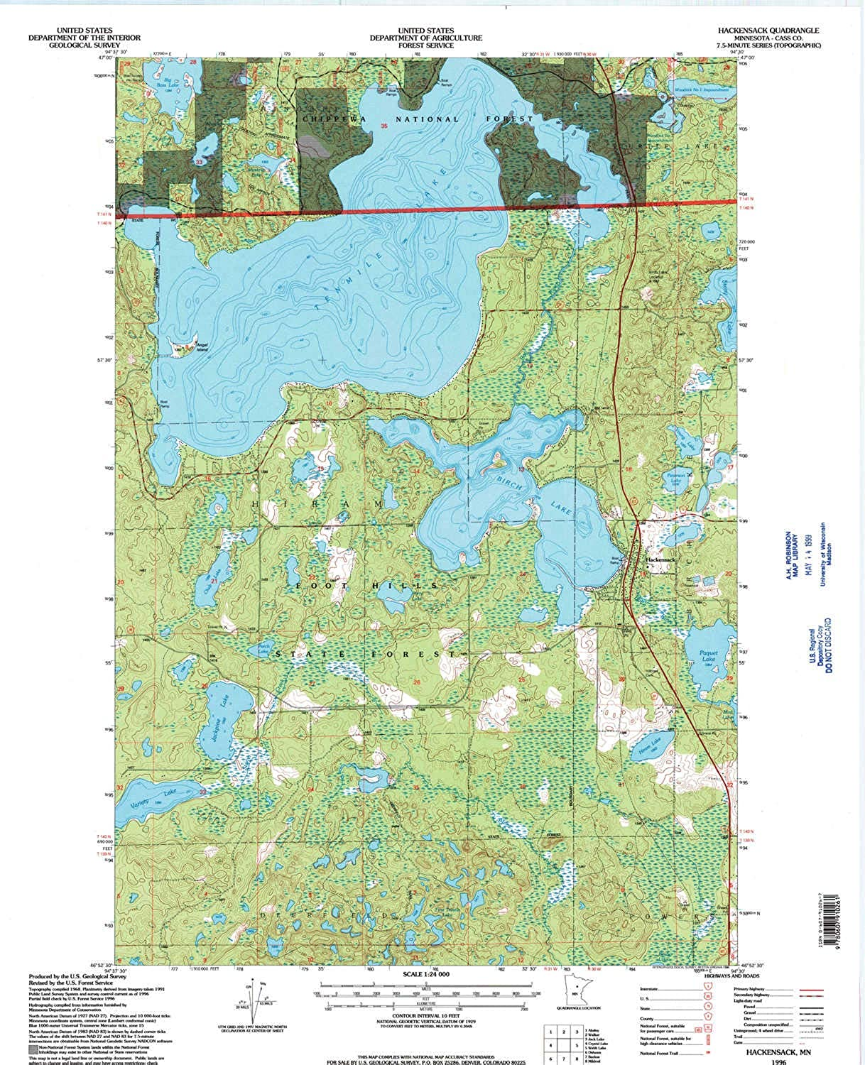 Hackensack MN topo map, 1 24000 Scale, 7.5 X 7.5 Minute, Historical, 1996, Updated 1998, 27.23 x 21.53 in