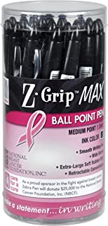 Zebra Z-Grip MAX BOLD Retractable Ballpoint Pen, 1.2mm, Black with Pink Ribbon, 24-Pack (32577)