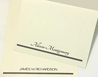 50 Personalized Note Cards Printed with Full Name. Sets of 50 or 20. Choose from 3 Colors and Many Fonts. Folding Cards w Matching envelopes. Beautiful Quality Stone Print Cards, Blank Inside