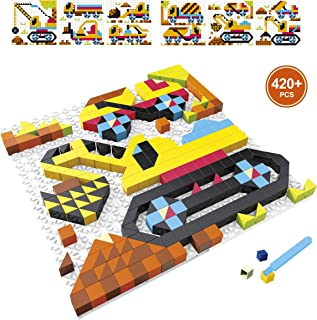 PinSpace Building Blocks Set, DIY Educational Learning Construction Games Fine Motor, 420 Pieces 6 Engineering Models Excavator Truck Crane Concrete Mixer Toys for Kids 4 Years and Up