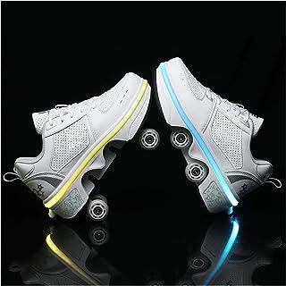 HANHJ Rullskridskor kvinnor fyrhjuling flickor unisex skor rullskridskor USB-laddning tekniska skridskor utomhussport