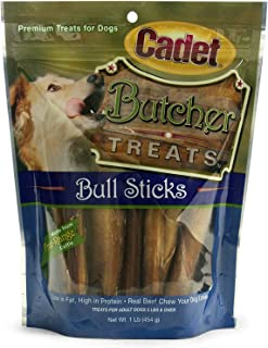 Cadet Butcher Treats Bull Sticks for Adult Dogs 5 Pounds and Over (1 Pound Bag)