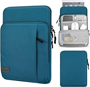 MoKo 9-11 Inch Tablet Sleeve Bag Carrying Case with Storage Pockets Fits iPad Pro 11 2021/2020/2018, iPad 8th 7th Generation 10.2, iPad Air 4 10.9, iPad 9.7, Galaxy Tab A 10.1 - Peacock Blue