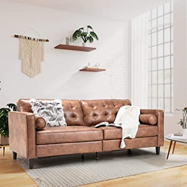 """Esright 84.2""""Mid-Century Sofa Couch,Tufted Synthetic Suede Fabric Modern Couch with 2 Bolster Pillows, Sofas Couches for Livi"""
