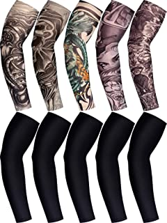 10 Pairs Men's Cooling Arm Sleeves Long Fingerless Gloves Anti-Slip Sun Protection Arm Sleeves