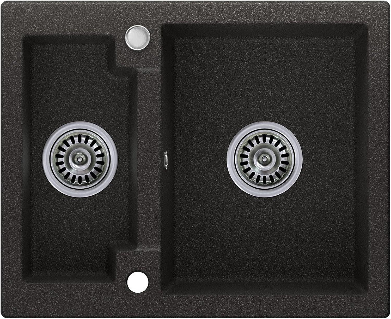 Granitspüle graphit, 1,5-Becken, Drehexcenter + Siphon, Spülbecken, Küchenspüle, Schrankbreite ab 60 cm