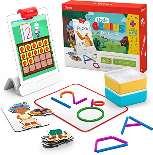 Osmo - Little Genius Starter Kit for iPad + Early Math Adventure - 6 Educational Learning Games - Ages 3-5 - Counting...