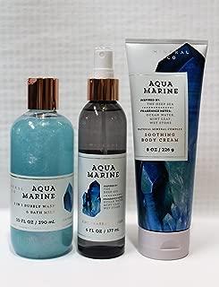 Bath & Body Works ~ Signature Collection ~ Aquamarine ~ 2-in-1 Bubbly Wash & Bath Milk -10 fl oz ~ Fine Fragrance Mist 6 fl oz & Body Cream 8 oz ~ 3 pc. Gift Set