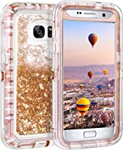 Coolden Case for Galaxy S7 Case Protective Glitter Case for Women Girls Cute Bling Sparkle 3D Quicksand Heavy Duty Hard Shell Shockproof TPU Case for Samsung Galaxy S7, Light Coffee
