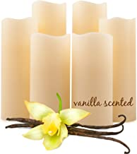 Vanilla Scented Flameless Candles by FVM - Flickering LED Lights - Aromatherapy Home Decor Relaxation and Stress Reduction - Living Room Kitchen and Bedroom Decoration Ideas - Safe for Kids and Pets