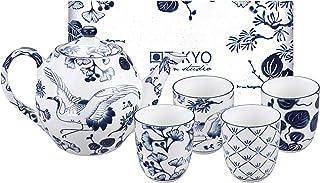 TOKYO design studio Flora Japonica Tee-Set blau-weiß, 5-TLG