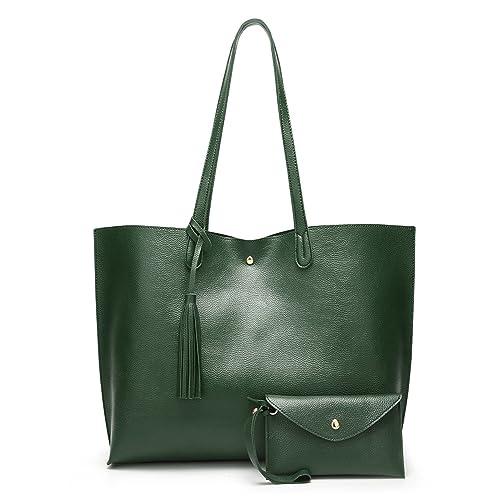 e80814b0c016 SIFINI Women Tote Bag Tassels Faux Leather Bags Simple Shoulder Handbag  with Fashion Small Wristlet Purses