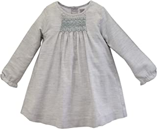 Little Girl's Grey Melange Smocked Dress - Long Sleeves