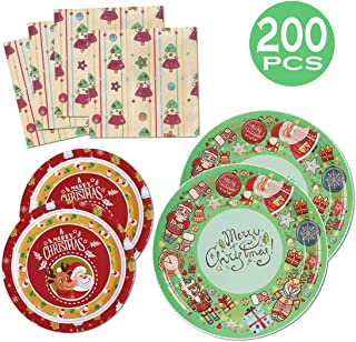 200PCS Christmas Party Supplies Paper Plates and Napkins Bulk 9 inch 7 inch Dessert Round Disposable Plates Green Red Eco Friendly Party Tableware Set (for Christmas Red&Green)
