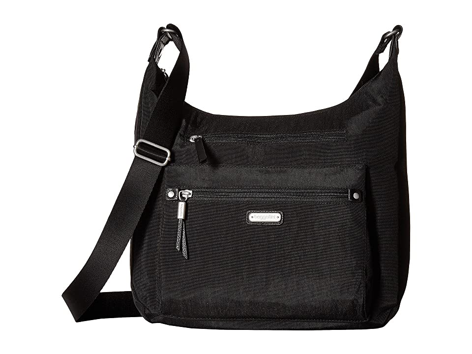 Baggallini New Classic Day Trip Hobo with RFID Phone Wristlet (Black) Hobo Handbags