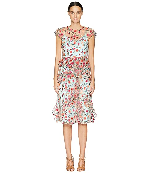 ML Monique Lhuillier Ruffled Embroidered Dress with Bow Detail