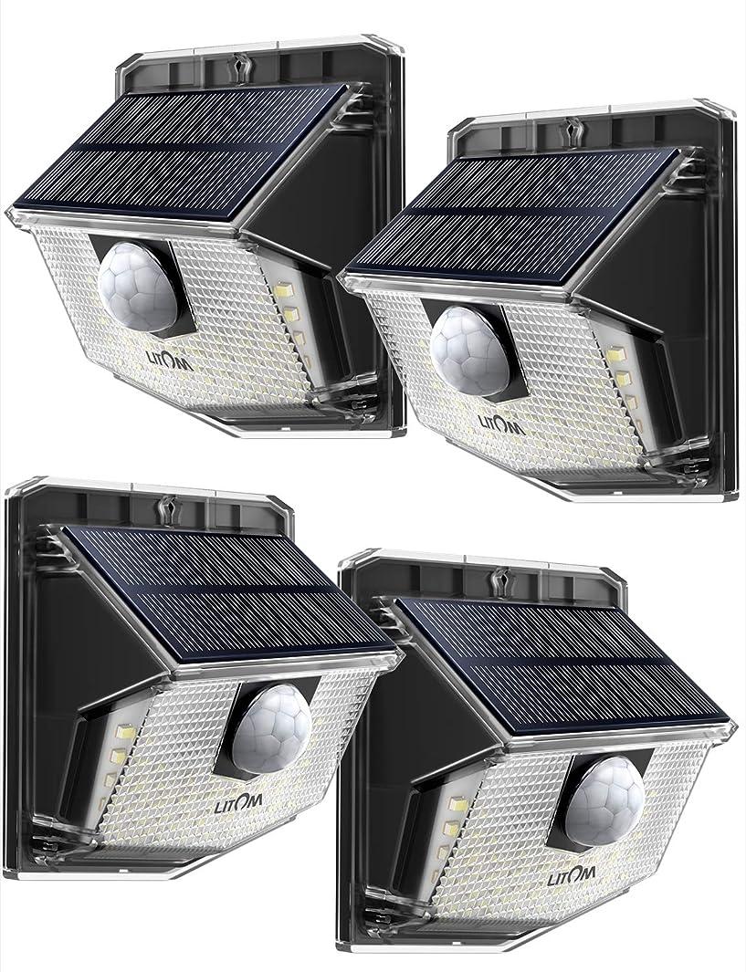 貸すプランター暗くするLitom ソーラーライト 人感ライト 30led IP65 防水 屋外照明用センサーライト シングルモード センサー時間30s 夜間自動点灯 玄関 庭 駐車場 18ヶ月間保証 停電防災緊急対策 4個