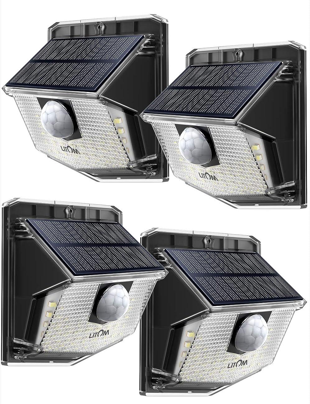 保証金パキスタン人外交官Litom ソーラーライト 人感ライト 30led IP65 防水 屋外照明用センサーライト シングルモード センサー時間30s 夜間自動点灯 玄関 庭 駐車場 18ヶ月間保証 停電防災緊急対策 4個