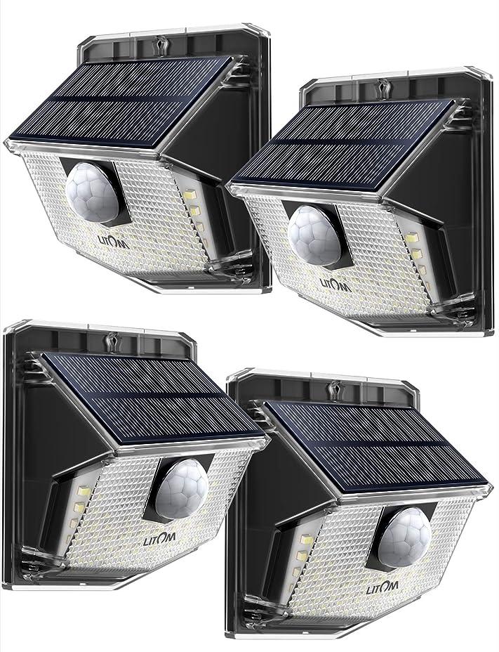 ピン失敗周辺Litom ソーラーライト 人感ライト 30led IP65 防水 屋外照明用センサーライト シングルモード センサー時間30s 夜間自動点灯 玄関 庭 駐車場 18ヶ月間保証 停電防災緊急対策 4個