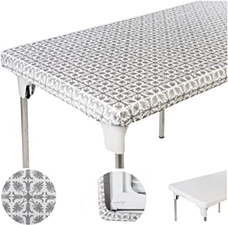 """TopTableCloth Table Cover Silver Patterned Elastic on the corner for folding table 6ft (30"""" x 72"""") Waterproof Elastic Edge Fitted Stay put Table Cloth for Travel, Christmas, Picnics, Parties & Outdoor"""