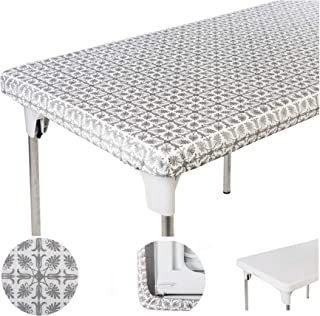 TopTableCloth Table Cover Silver Patterned Elastic on The Corner for Folding Table 6 ft 30 x 72 inch Waterproof Elastic Edge Fitted Stay Put Table Cloth for Travel Christmas Picnics Parties Outdoor