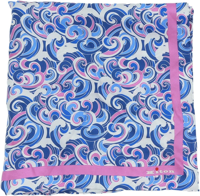 Kiton Men's Napoli Waves Design Silk Pocket Square