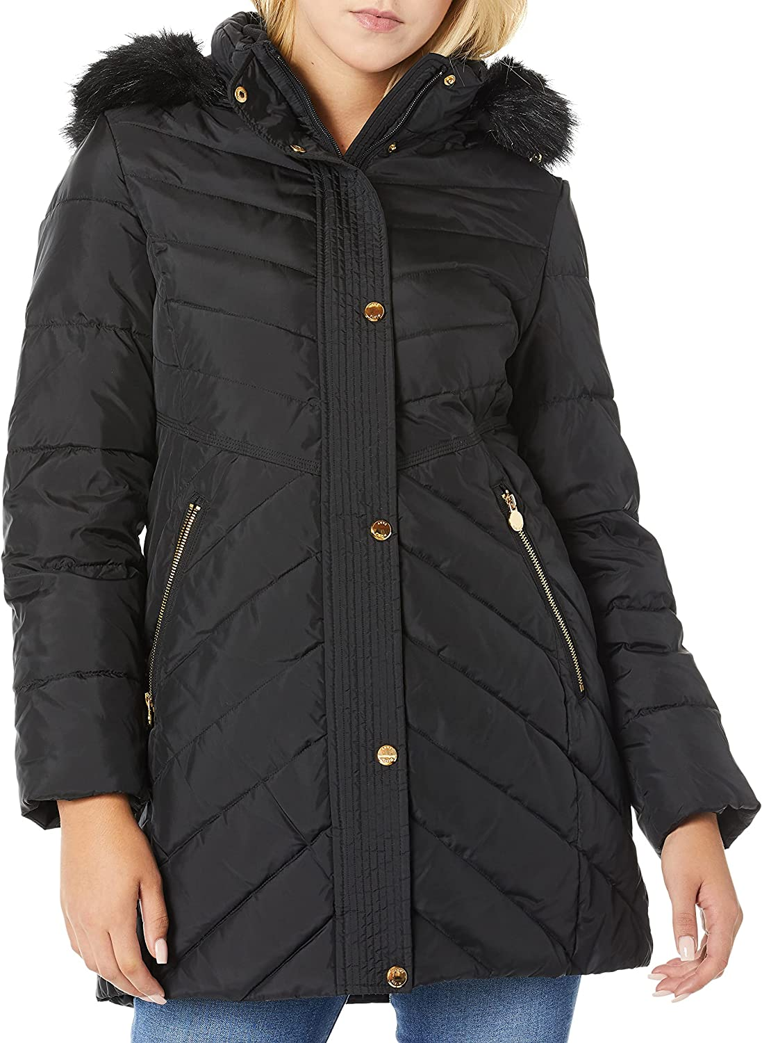 Anne Klein womens Down Coat With Faux Fur Trimmed Hood