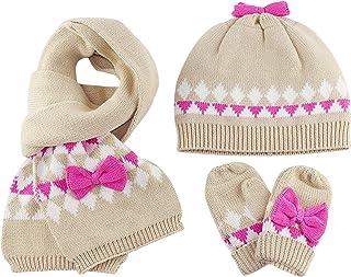 Bebé Niñas Gorro Bufanda Guantes de punto 3pzs Conjunto Invierno 1-4 años Sombrero gorra pañuelo manoplas cálido nudo de a...