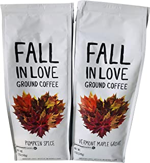 Fall in Love Coffee Bundle -- Pumpkin Spice and Vermont Maple Grove -- Ground, 12 ounces each