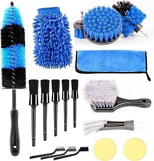 YIKBIK 18Pcs Wheel Tire Brush Set for Cleaning Wheels, Detail Brush Car Wash Wheel Rim Brushes Kit for Washing Tires Vehic...