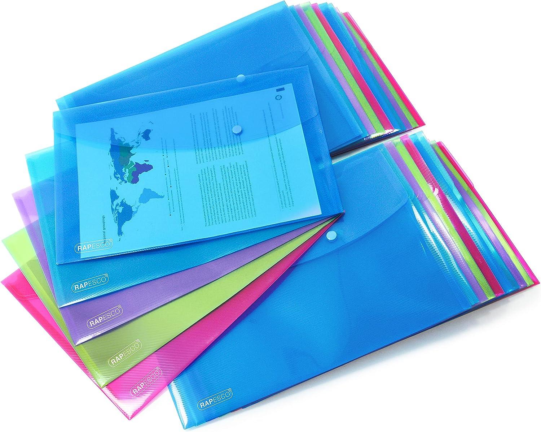 Rapesco 1678 Bright New popularity Popper Foolscap Assorte Wallet Cheap super special price Transparent
