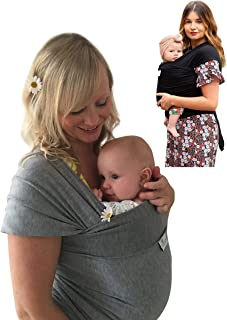 DaisyGro Luxury Baby Wrap Carrier, 2 Size Options, Stretchy Organic Cotton, Grey or Black