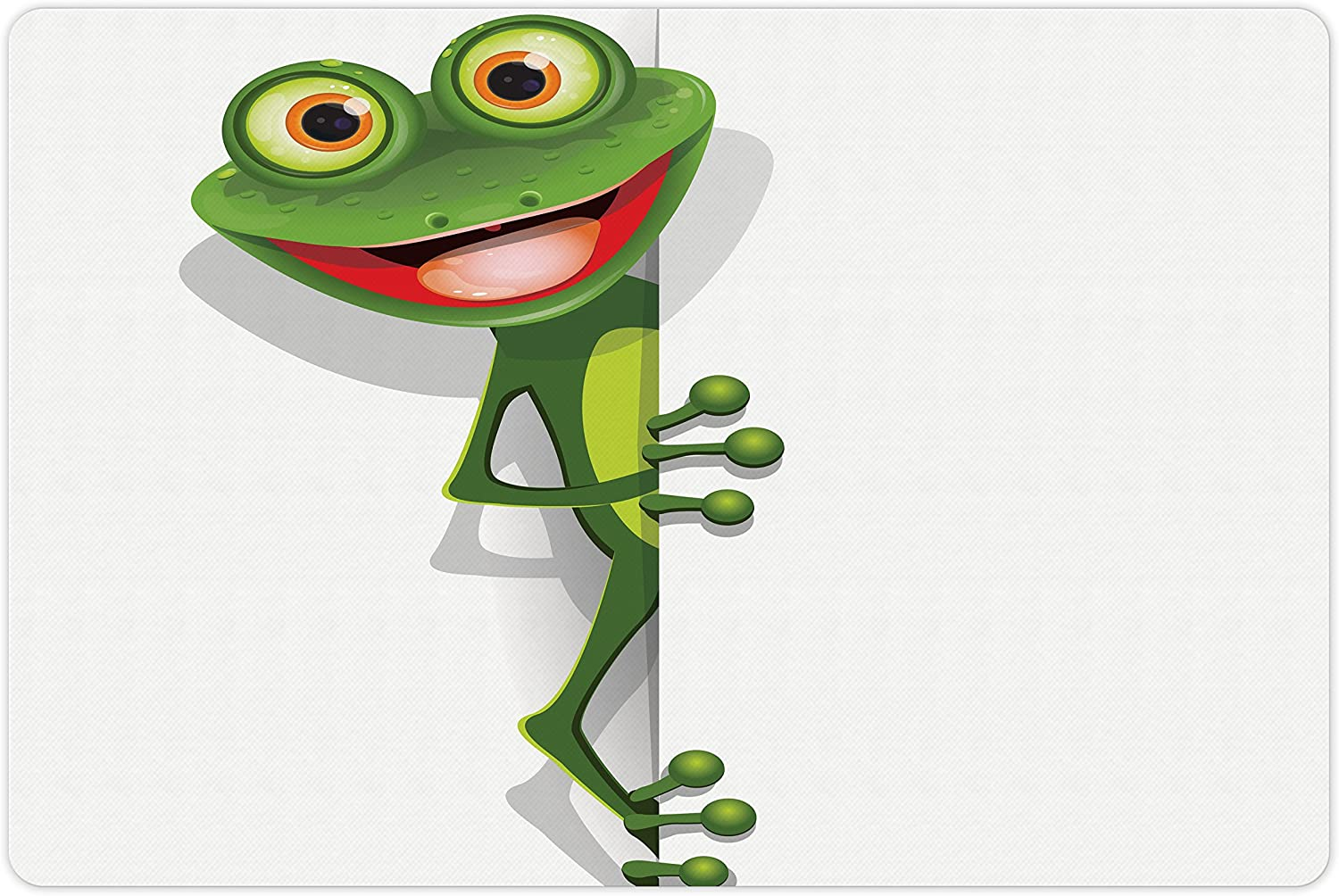 Translated Lunarable Cartoon Pet Mat for Food and Water Cheap Gr Jolly with Frog