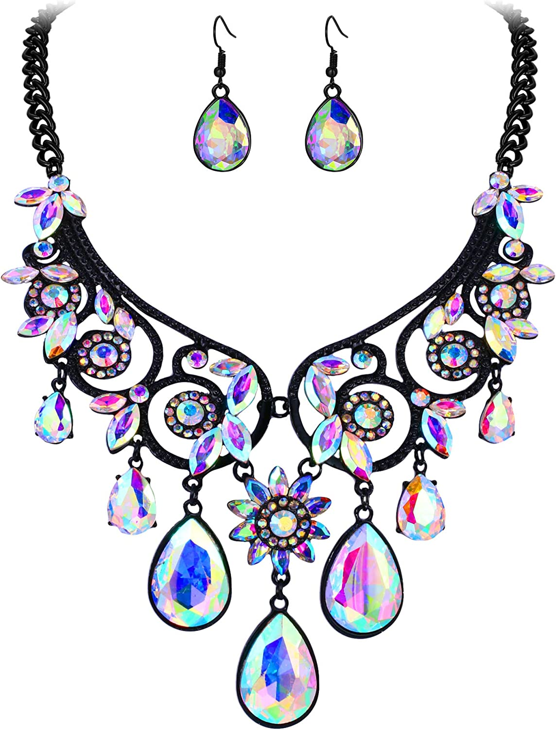BriLove Women's Tribal Ethnic Crystal Chunky Statement Necklace Dangle Earrings Set