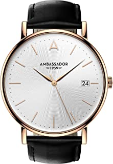 Ambassador Luxury Watch for Men - Heritage 1959 Gold Case with Black Leather Strap with Swiss Quality