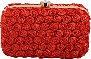 Tooba Women's Clutch (Red Flower)