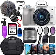 $679 Get Canon EOS M50 Mirrorless Digital Camera (Silver) and 15-45mm STM Lens w/Rode VideoMicro Compact On-Camera Microphone + 64GB Transcend Memory Card, Camera Bag & More Essential Accessory Bundle