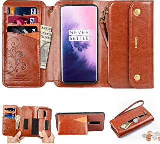 CORNMI OnePlus 7 Pro Wallet Case, Zipper Pocket 8 Card Holders Wrist Strap Kickstand Detachable Purse Leather Folio Flip Protective Cover for 1+ 7 Pro Brown