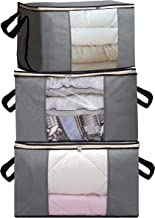 SLEEPING LAMB Jumbo Storage Bag Organizers 100L Capacity Clothes Storage Container for King Size Comforter, Duvets, Blankets, Bedding in Closet, 3 Pack, Grey