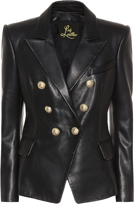 SID Womens Classic Police Type Lambskin Leather Jacket, Biker Jacket