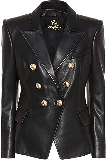 Womens Classic Police Type Lambskin Leather Jacket, Biker Jacket