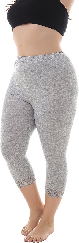ZERDOCEAN Women's Plus Size Modal Capri Leggings Hem Lace Trim