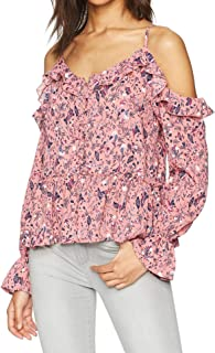 William Rast Women's Wolfe Ruffle Cold Shoulder Peasant Top