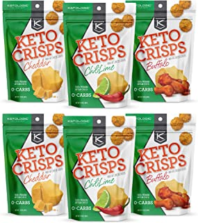 KetoLogic Keto Crisps, Variety Pack | Low Carb, High Fat, High Protein, Gluten Free | Sustainably Sourced, Oven Baked Keto Snack | 1.75 Oz Per Bag, 6 Pack